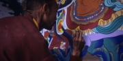 Monk painting a religious fresco in Hemis monastery, Ladakh, India, 2006
